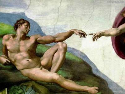 Adam (detail of painting the Sistine Chapel by Michelangelo)